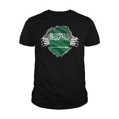 31a8169dff2dd Marrola Men's Saudi Arabian Superhero Under Shirt Saudi Arabia Flag T-Shirt  (S,