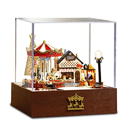Flever Dollhouse Miniature DIY House Kit Creative Room With Furniture and Cover for Romantic Valentine's Gift(Carousel Garden-Edition of Happy) (Furniture Garden Diy)
