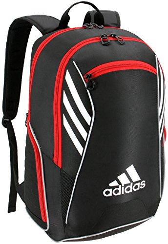 adidas Tour Tennis Racquet Backpack, Black/White/Scarlet, One Size