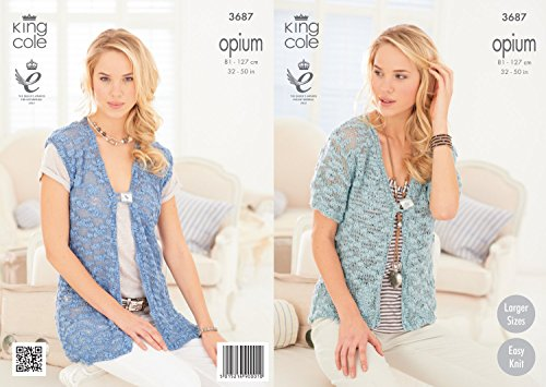 1d1b83ac2 King Cole Opium Ladies Cardigan   Waistcoat Knitting Pattern 3687 ...