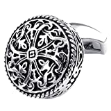 KONOV 2pcs Rhodium Plated Men's Vintage Celtic Cross Shirts Cufflinks, Wedding, Silver, 1 Pair