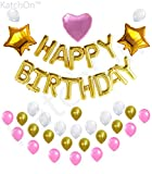 Arts & Crafts : PINK and GOLD BIRTHDAY DECORATIONS - Elegant Design Happy Birthday Balloons Letter, Gold Pink and White Ballons, 2 Gold Star and 1 Pink Heart Balloon, Cute Birthday Party Supplies | Free Party Planner