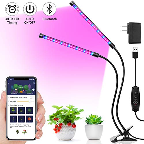 MINGER 20W Grow Light, LED Plant Light with APP, 6 Dimmable Modes, Red/Blue Full Spectrum LED UV Growing Lamps with Timer, Dual Head Adjustable Gooseneck Auto On/Off Growing Light for Indoor Plants (Free Standing Grow Light)