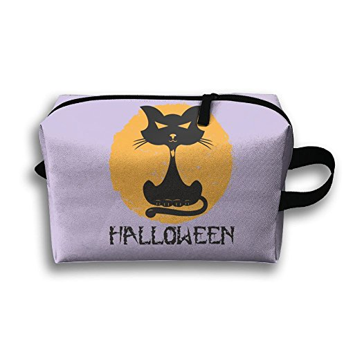 Travel Clutch Handbag Black Halloween Cat For Women Zipper Cosmetics -