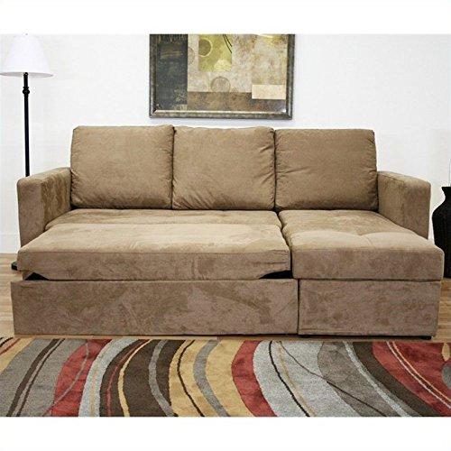 Baxton Studio Linden Tan Microfiber Convertible Sectional / Sofa Bed
