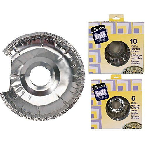 16-Piece Aluminum Foil Burner Liners For Electric Stove (10 Small and 6 Large) ()