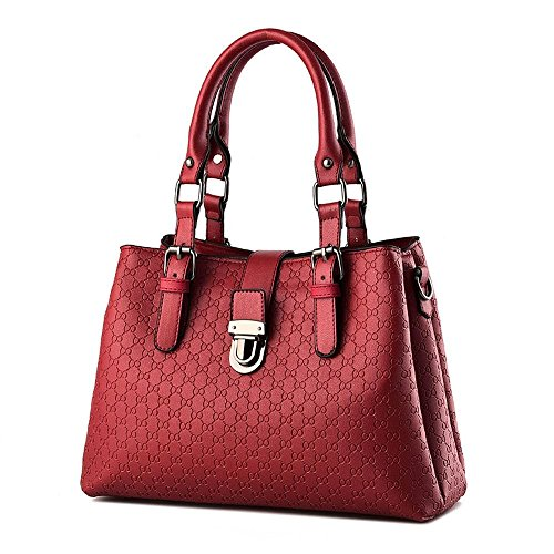 Desklets Women's Vintage Sling Tote Fashionable Bags Top Handle Handbag(Red)