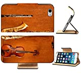 Liili Premium Apple iPhone 6 iPhone 6S Flip Pu Leather Wallet Case Classic music Sax tenor saxophone violin and clarinet in vintage wood Photo 17613528 Simple Snap Carrying