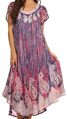 Sakkas 15900 - Bree Long Embroidered Cap Sleeve Marbled Dress - Hibiscus Pink - OS