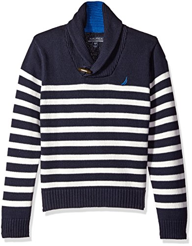 Striped Boys Sweater - Nautica Big Boys Shawl Collar 'Rockport' Striped Sweater with Neck Toggle Closure, Sport Navy, Medium