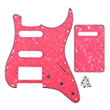 pink fender - IKN 4Ply Light Pink Pearl HSS 11 Holes Strat Electric Guitar Pickguard Scratch Plate and Back Plate Set for Fender Style Standard Strats Style,with Pure Aluminum Foil Shielding with Screws