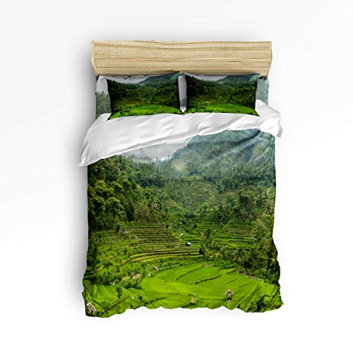 LUSWEET Duvet Cover Setfull Size Green Terrace Landscape Bedding Collections Lightweight 4 Pieces Bedding Set with Zipper Ties Includes 2 Pillow ()