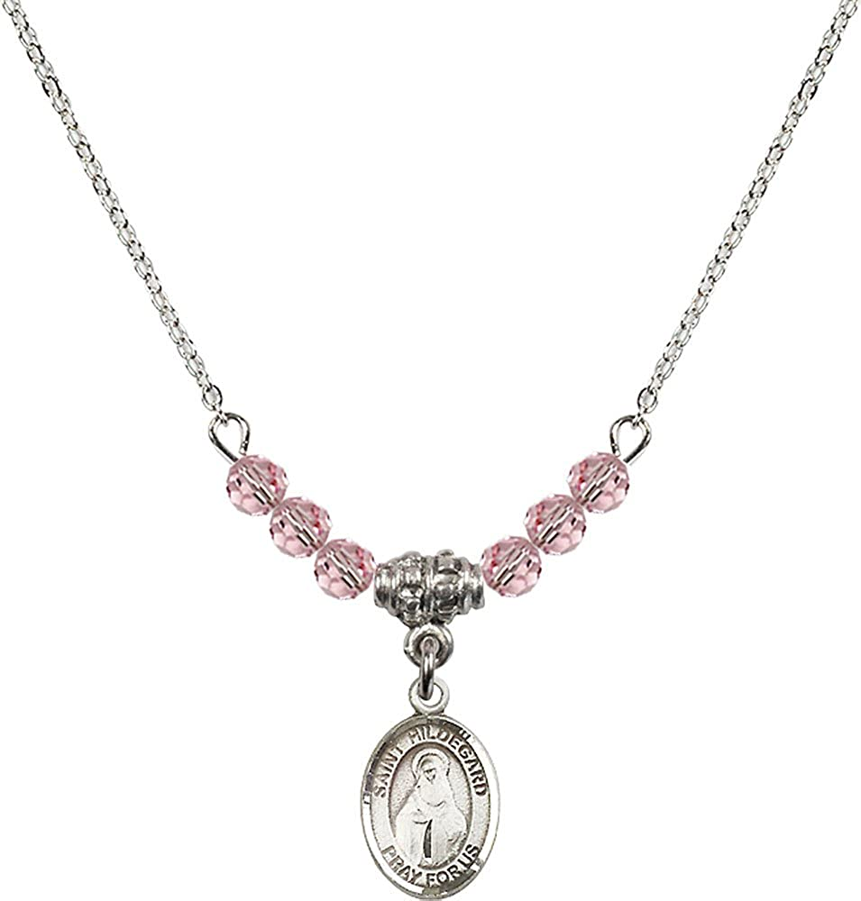 18-Inch Rhodium Plated Necklace with 4mm Light Rose Birthstone Beads and Sterling Silver Saint Hildegard von Bingen Charm.