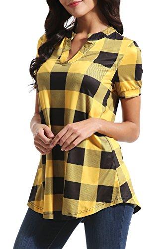 Zattcas Womens Plaid Tunic Tops Summer Short Sleeve V Neck High Low Blouse Shirt Tops (Small, - Short Blouse Yellow Sleeve