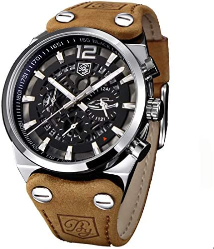 Men s Big Dial Quartz Sport Watches Brown Leather Band Chronograph Luminous Skeleton Military Wrist Watch for Men Brown