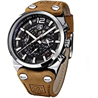 Men's Big Dial Quartz Sport Watches Brown Leather Band Chronograph Luminous Skeleton Military Wrist Watch for Men (Brown)
