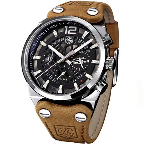 Men's Big Dial Quartz Sport Watches Brown Leather Band Chronograph Luminous Skeleton Military Wrist Watch for Men (Brown) -