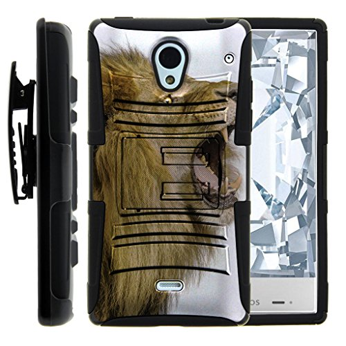 TurtleArmor | Sharp AQUOS Crystal Case | 306SH [Hyper Shock] Dual Layer Shock Silicone Hybrid Rugged Belt Clip Holster Hard Impact Kickstand Case Animal Design - Roaring Lion