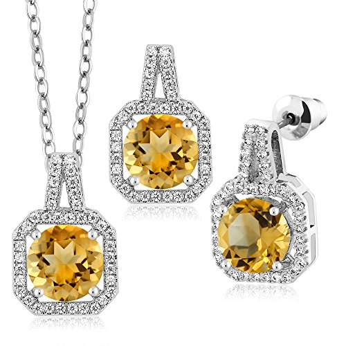 Citrine Earring Pendant - 5.87 Ct Round Yellow Citrine Rhodium Plated Pendant Earrings Set