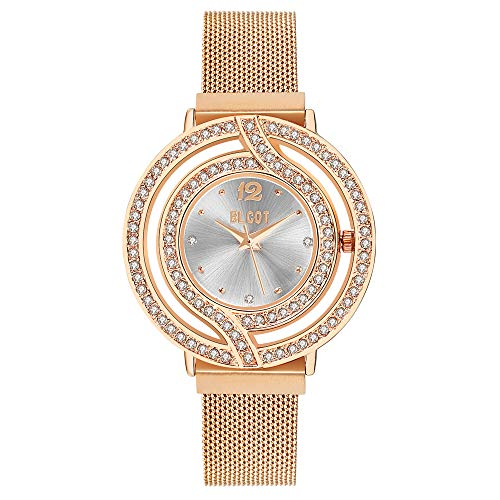BLCOT Woman`s Crystal Accented Magnetic Buckle Mesh Belt Rose Gold Quartz Bracelet Watch (White)