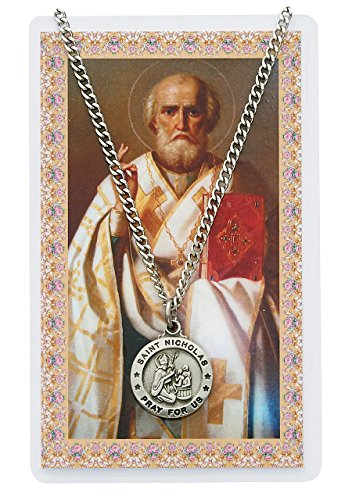 Saint Nicholas 3/4-inch Pewter Medal Pendant Necklace with Holy Prayer Card