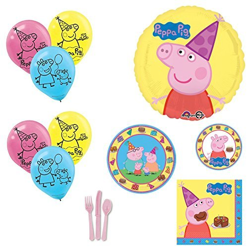 Peppa Pig Party Supplies and Balloons Bouquet for 8 -