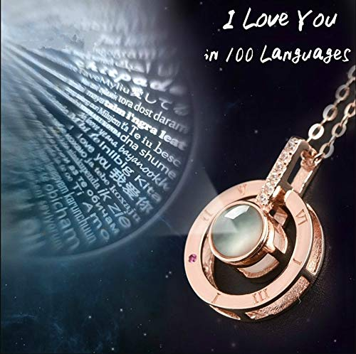 sandywident I Love You in 100 Languages Necklace Microscopic Carvings Light Projected Pendant Necklace for Women Lover Jewelry Gifts(Rose Gold,one Size)