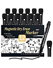 Magnetic Dry Erase Markers Fine Point - 12 Pack White board Markers with Eraser Cap for Kids, Black Low Odor Erasable Ultra Fine Tip Dry Erase Whiteboard Markers - School & Office Supplies