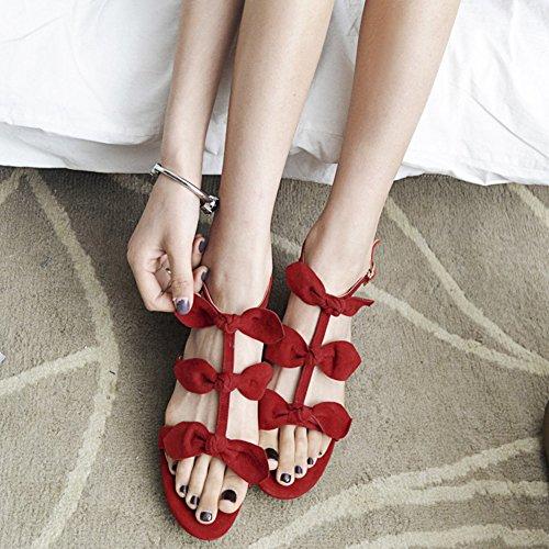 VOCOSI Women's Sweet Classic Block Heel Leather Sandals Red n9mw1BrL5y