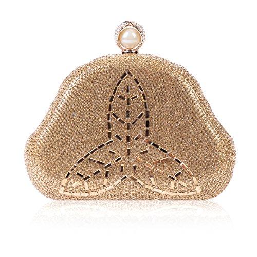 Oro Mujeres Totalmente Noche Bolso Cristal De Damara De Trébol Estilo De De Rhinestones 1gqxw7B47