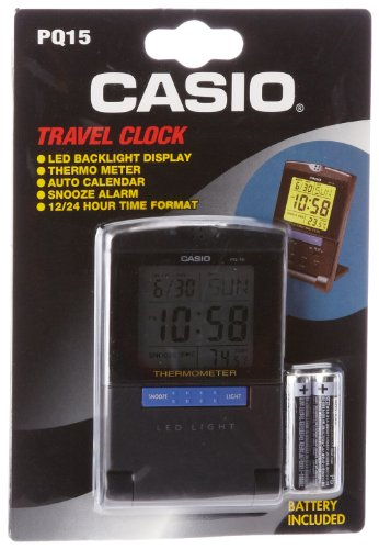 Casio PQ15-1K Travel Alarm Clock with Thermometer (Casio Travel Alarm)