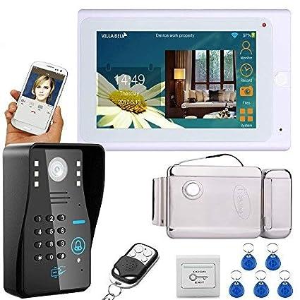 """mountainone 7 """"TFT con cable/inalámbrico Wifi RFID contraseña vídeo puerta teléfono timbre"""
