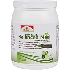 Premium Plant-Based Protein Balanced Meal Replacement Shakes - Fermented Whole Food, Organic Vegetables, Herbs, Super Fruits, Fiber, Omega, Probiotics & Enzyme, Vegan-Friendly, Non-GMO (Vanilla, 1lbs)