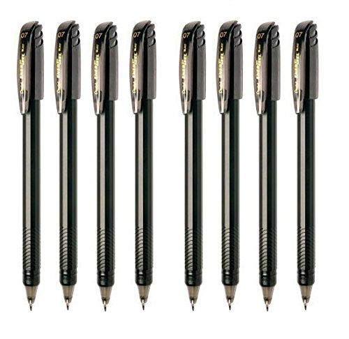 Pentel Energel Roller Gel Pen 0.7mm Medium Metal Tip, Black Color, Pack of 8 (Pentel Line)