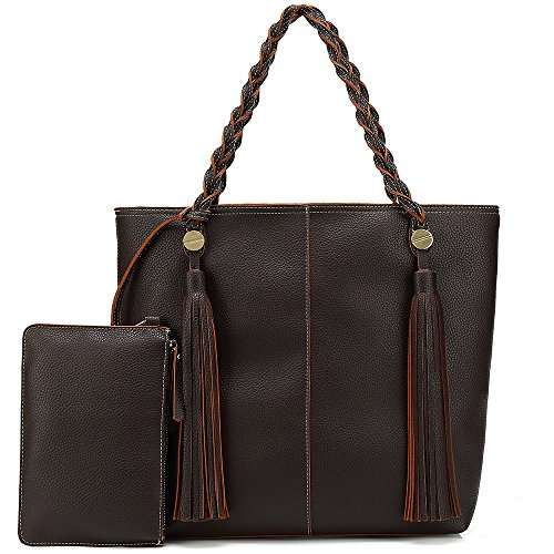 Women Tote Shoulder Bag Purse Ladies Handbag Large Hobo Tassel Soft Lightweight Vegan Leather (Coffe) by Shomico