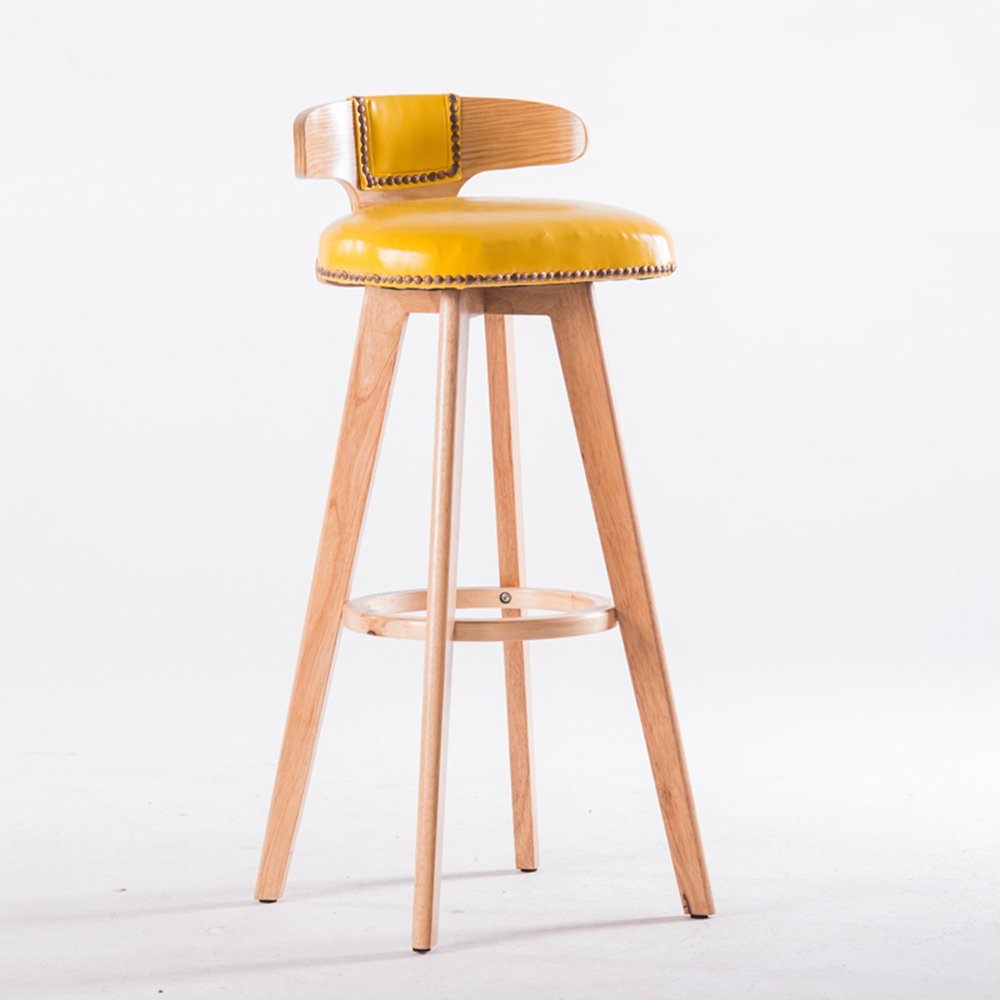 Chairs caicolorful modern furniture bar solid wood reception 360 degree rotation color yellow amazon co uk kitchen home