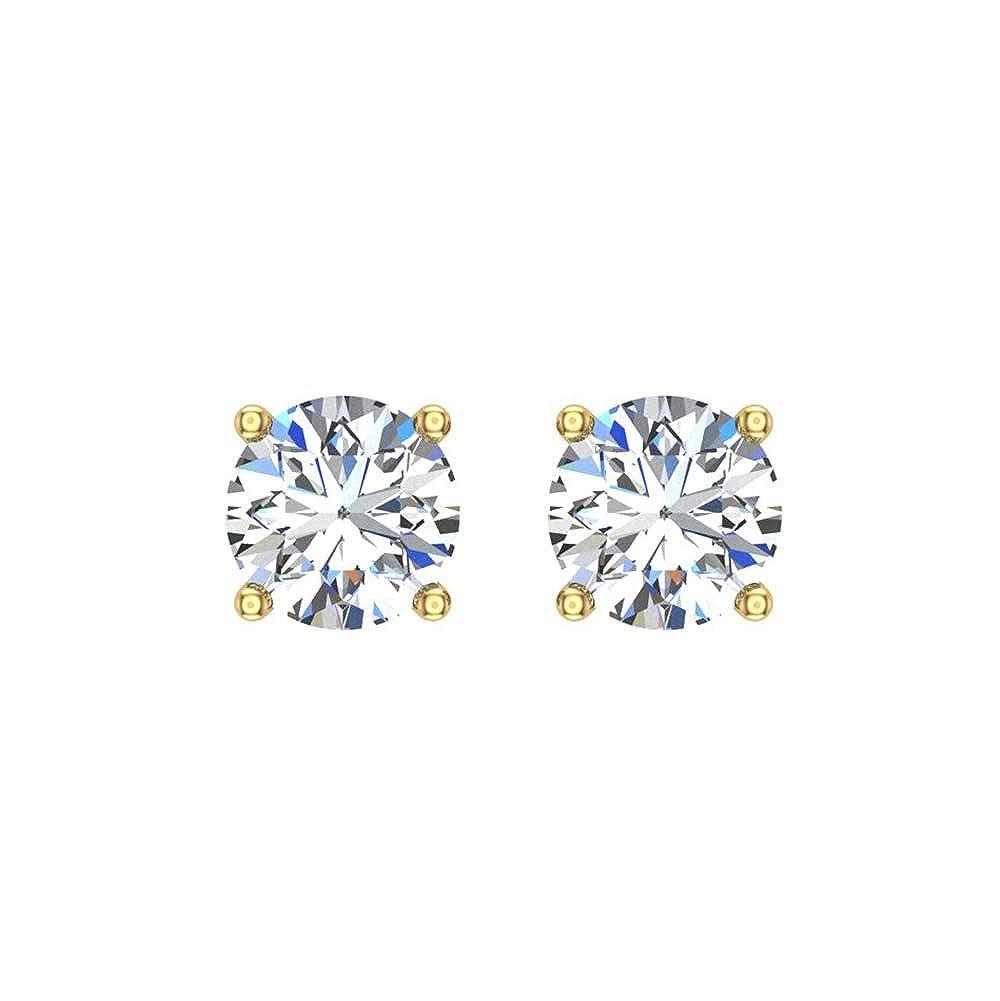 26b291753 Amazon.com: 0.06 ct tw Small Four Prong Diamond Stud Earrings 14K White Gold:  Jewelry