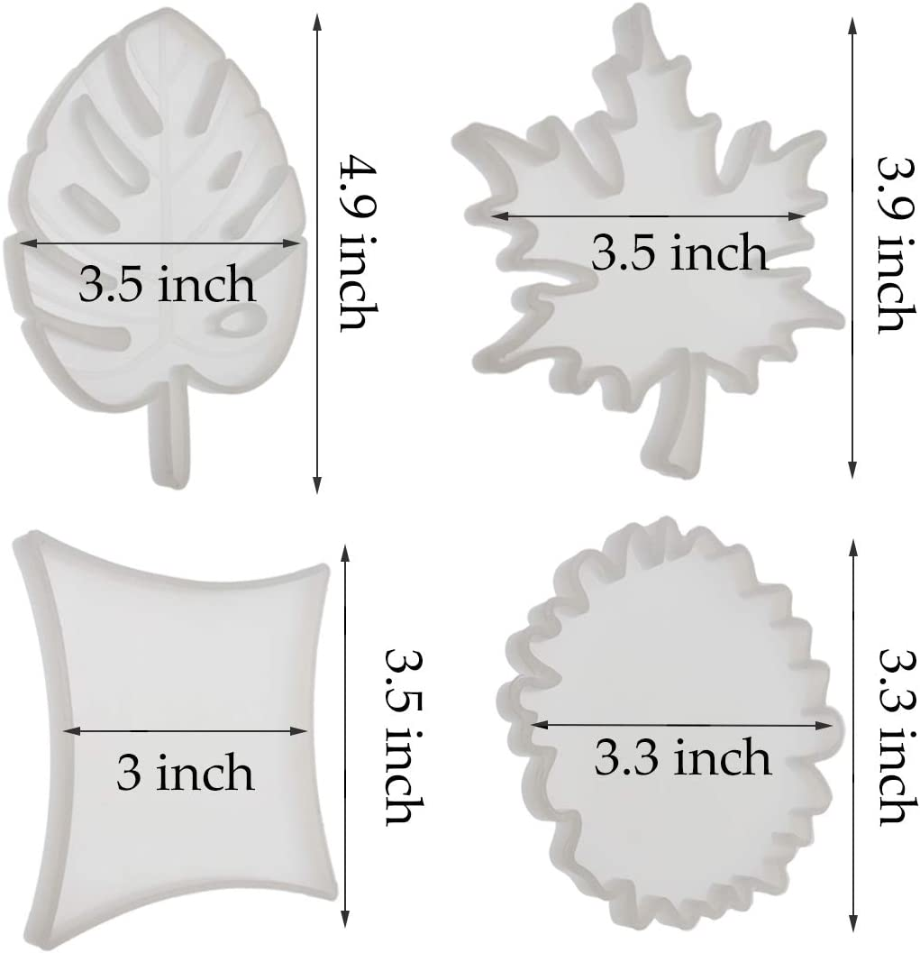 4 Pack Resin Molds for Casting Rhombus Round Tropical Maple Leaf Mold for Casting with Resin Coaster Silicone Mold Concrete DIY Artcraft Project Gift Making