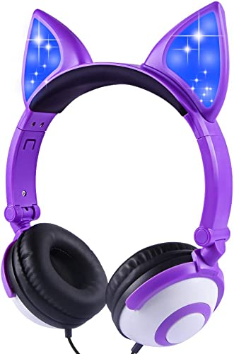 LOBKIN Foldable Wired Over Ear Kids Headphone with Glowing Light for Girls Children Cosplay Fans,Cat Ear Headphones Purple