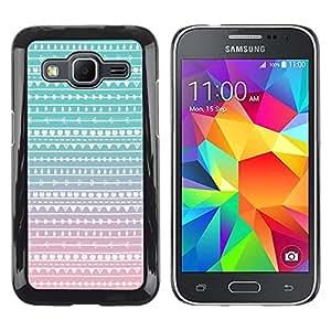 FECELL CITY // Duro Aluminio Pegatina PC Caso decorativo Funda Carcasa de Protección para Samsung Galaxy Core Prime SM-G360 // Pink White Chevron Pattern Native