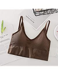 2 Pieces U-Shaped Seamless Tube Top Bra Beauty Back Sling Strap Wrapped Chest Anti-Light Ladies Sports Fitness Top Bra Underwear (Color : Coffee, Size : One Size)
