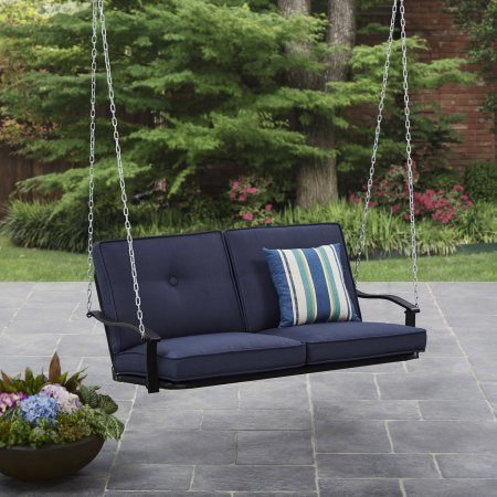 Mainstays Belden Park Outdoor Porch Swing – Navy Blue Cushions