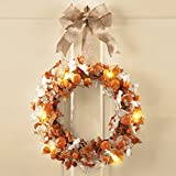 Autumn Wreath Fall Harvest Thanksgiving Country Primitive Home Accent Decoration (lighted pumpkin burlap bow)
