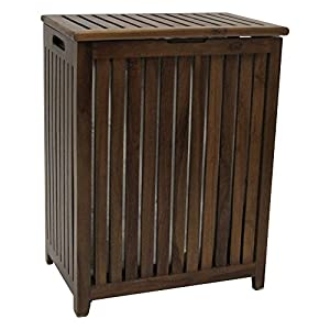 Redmon Genuine Hamper with Laundry Bag, Wood Grain Teak