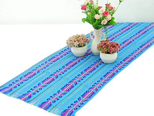 Florance jones Blue Mexican Table Runner, Aztec Table Cloth, Mexican ding,Cinco de Mayo, Party Decor, Colorful Fia Decorations, 14X72 Inches | Model WDDNG - 3644 | 60 Inches