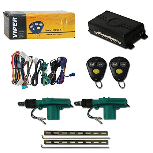 Viper 3100VX 1-Way Car Alarm System with 2 Remotes & Keyless Entry + Universal Door Lock Actuator 2 Wire