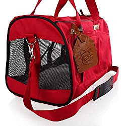 Soft Sided Pet Carrier Low Profile Luxury Travel Tote with Fleece Bedding & Safety Lock Perfect for Cats and Small Dogs Foldable (red)