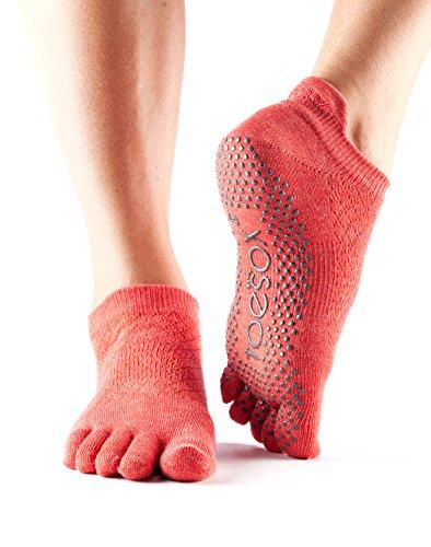 ToeSox Women's Low Rise Full Toe Grip Socks (Fishnet Poppy) Medium - Spring ()