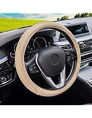 Magnelex - Funda universal para volante de coche, funda de microfibra de piel negra de 38 cm