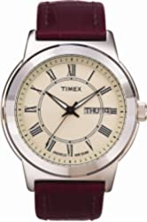 Timex T2E581 Mens Cream Brown Dress Strap Watch